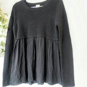 Sweaters - Self Esteem black ribbed challis trim sweater